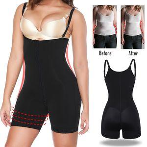 Women Full Body Shaper Powernet Shapewear Open Crotch Bodysuit Waist Trainer Tummy Control Fajas Colombianas High Compression