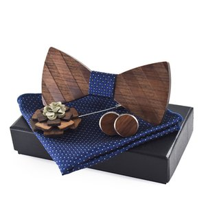 2021 New 3d Stripe Pattern Wooden Bow Tie Cufflinks Boutonniere Handkerchief Set Business Butterfly Cravat Party Ties for Men 0rt0