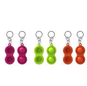 Keychains Fidget Simple Dimple Toy Fashion Pendant Multicolor Car Keyring Chain Food Grade Silica Gel Ornaments Gift Key Chains BWB5081
