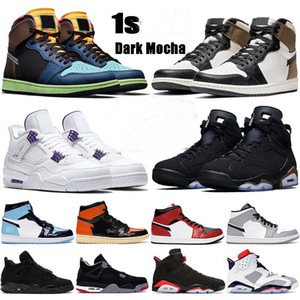 Новые Баскетбольные Обувь 1 1S Темные Mocha UNC 4 4S Металлический Зеленый Черный Кот Выведен 6 6S DMP Черные Инфракрасные Мужчины Женщины Кроссовки Новые Баскетбольные Обувь