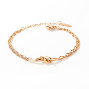 charms rose gold stainless steel Knot bracelets for women kpop Double layer chain adjustable wristband jewelry accessories gifts