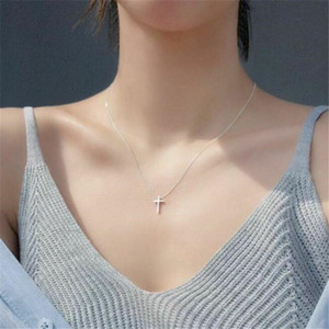 Women's Cross Necklace 925 Sterling Silver Plated Dainty Small Fashion Jewelry