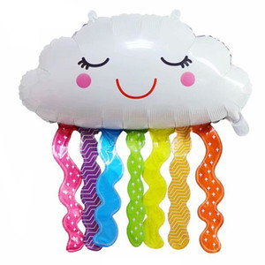 LQZZY NEW smile rainbow cloud foil balloon girl 10 years old happy birthday party balloons Kindergarten kids toy decoration