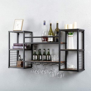 Furniture Industrial hanging wine rack wall mounted with 5 glass supports, 47 inch (about 119.9 cm) country wines glasss racks walls mounteds