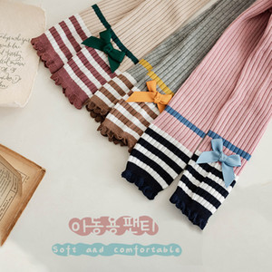 Spring 2021 New Korean Baby Girls Bowknot Tights Fashion Kids Color Matching Bow Stripe Leggings Children Striped Lace Pantyhose C6822