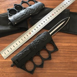 Nouveau Crâne Micro Knuckle Knuckle Duster Bague Couteau Automatique Couteau Automatique Tactique Seur Defense Survie Ring Art Martial Arts Martial Fercarpillage UT88 BM 3300