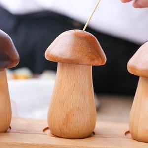 أزياء دائم وإبداعية خشبية مسواك تسعير شخصية الفطر بسيط مسواك مربع مسواك الرئيسية جرة owd4917