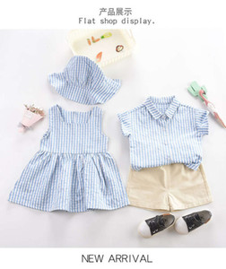 sister Children's brother boys' striped shirt pants two piece girls' Baby dress Hat set