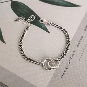 Hip Hop Jewelry Double Circle Thai Silver Color Handcuffs Bracelet Handmade Thick Chain Couple Bracelet for Men Women S-B413