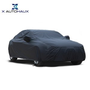 X Autohaux Universal Black Breathable Waterproof Fabric Cover w Mirror Pocket Winter Snow Summer Full Car Protection COVERS