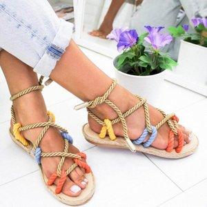 JUNSRM ROMA ZAPA ZAPA DE LAS MUJERES DE VERANO Zapatillas de cuerda Plana zapatillas de encaje plano Abre Toe Sandalia Sandalia Feminina Chaussures Femme C09n #