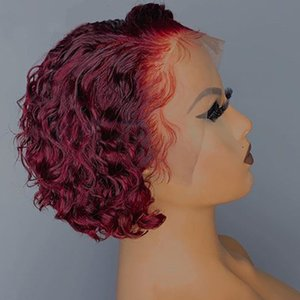 99J color Pixie Curly Human Hair Wig Short Bob with 13*1 Lace Front