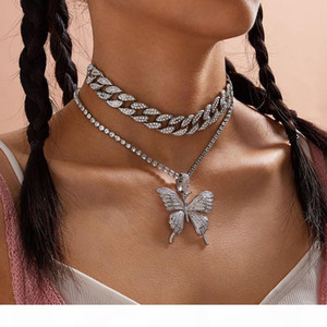 Cuban Chain Big 3d Butterfly fashion designer luxury diamonds statement pendant choker necklace for woman girls hip hop jewelry