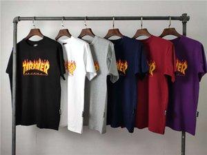 T-shirt marca moda hip hop estilo verão amarelo chama manga curta homens e mulher camisa de rua