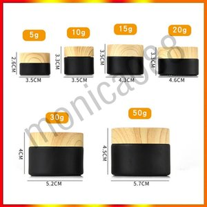 Black frosted glass cosmetic jars with woodgrain plastic lids PP liner 5g 10g 15g 20g 30 50g lip balm cream containers DHL