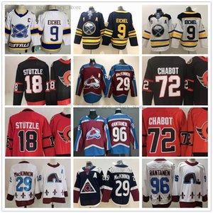 2021 Reverse Retro Ice Hóquei 9 Jack Eichel Jersey Costurado 18 Tim Stutzle 72 Thomas Chabo 29 Nathan Mackinnon 96 Mikko Rantanen Jerseys