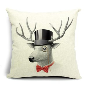 Minimalist Nordic Cushion Covers 5 Designs Literature Style Adorable Cartoon Animals Pillow Deer Sheep Pig Bird Rabbit Pillow Cases DHF4882