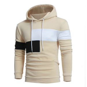 European autumn and winter hooded Pullover thin sweater large size customized men's color contrast stitching Hoodie