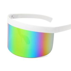 Солнцезащитные очки Негабаритная маска Щит Женщины Мужчины Большие Солнцезащитные Очки Очки Роскошный Дизайнер Зеркало UV400 Beach Farm Hat