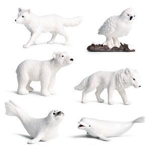 Simulación Animal Toy Figuras Polar Animal Toy Figurines Set, Simulación Polo Norte Modelo de animales para niño 3 años de edad (6 PCS) C0220