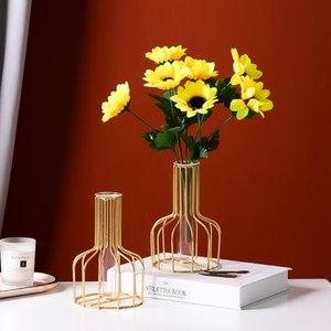 Iron Nordic Art Golden Hydroponic Vase Vase Décoration Salon Salon Table à manger Plantation de fleurs sèches Plantation de pin vert