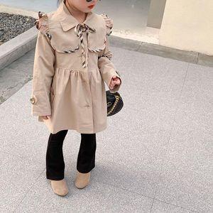 Coat 2021 Autumn Children's Wear Girls' European And American Style Collar Detachable Waist Windbreaker 2-294