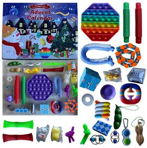 24pcs Set Christmas Fidget Toys Advent Calender Blind Boxes Gifts Simple Decompression Toy Push Bubbles Kids Xmas Gift By Sea HWB10051