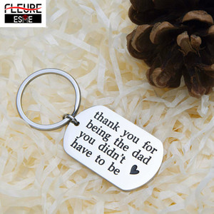 Fashion Jewelry Customized Keychains Ring Father's Day Gifts Stepfather Birthday Gift for New Dad Hired Father