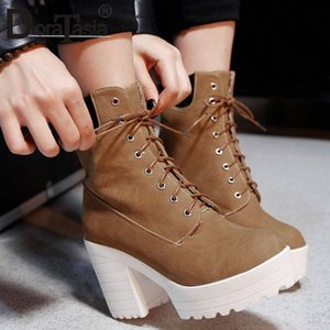 Doratasia Big Size 33 43 New High Platform Boots Donne Moda Signore Signore High Chunky Tacchi Scarpe Donna Party Office Caviglia Stivali Cat Boots 04UF #