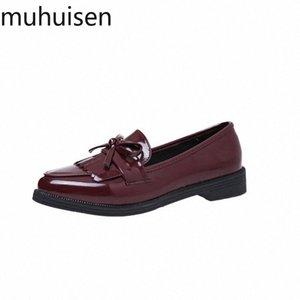 2019 mujeres tacones bajos moda bowtie plataforma hembra otoño zapatos franja chunky tacón plano zapato casual calzado Oxford zapatos zapatos para s w6hz #