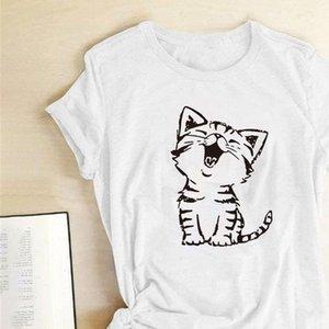 Cat Printing T shirts Women Summer Graphic Tees Kawaii Woman Tshirts Cotton Tops for Teens Harajuku Crew Neck Mujer Camisetas