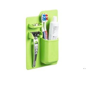 Soft Silicone Bathroom Organizer Toothbrush Holder Bathroom Suck on Mirror Toothpaste Shaver Organizer Storage Box OWF5424