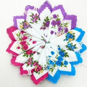 Mouchoir Couleurs Croissant Houchon imprimé Coton Floral Hankie Fleur Mouchoir brodé Brodée Toutelles de poche colorées BWE5015