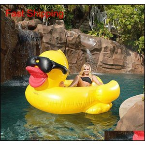 POOL FLOATS RAFT 82.6 * 70.8 * 43.3 дюйма Плавательная желтая утка Floats Raft Утолщение гигантской ПВХ надувной утиный бассейн Floa Qylvhy Sports2010