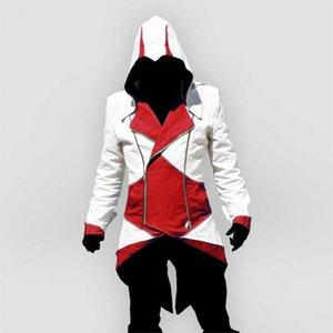 성인 여성 Edward Assassins Creed Cosplay Jacket 후드 남성 코트 outwear 할로윈 의상