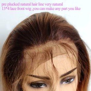 Miix Color 13 * 4 кружева передние парики предварительно сорванные натуральные волосы коричневый корню # 27 # 30 Омбре Малайзийские индийские перуанские бразильские девственные волосы отбеливатель
