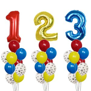 10Pcs Gog Paws Theme Number Foil Balloons Latex Balloons Kids Birthday Baby Shower Party Toy Decoration Supplies Air Globos