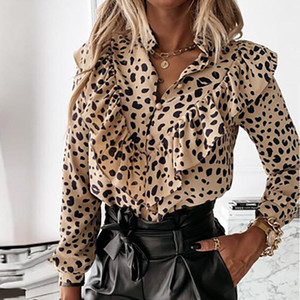 Ruffled Polka Dot Print Women's Blouses Autumn Single Breasted Long Sleeve Female Blouse 2021 Elegant Office Ladies Tops Clothes