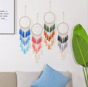 Dreamcatcher Hree Color Tassel Wind Chimes Handmade Dream Catcher 그물 깃털 Dreamcatcher 공예 선물 홈 장식 OWB5194
