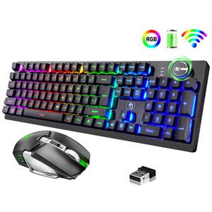 Gaming Teclado e Mouse Set RGB Backlit Mecânica Mecânica 4000mAh Bateria Ergonômico Teclado Impermeável à Prova D 'Água para Mac PC laptop jogo de computador
