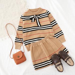 2021 Sonbahar Yeni Varış Kızlar Örme 2 Parça Suit Üst + Etek Çocuk Giyim Kız Giyim