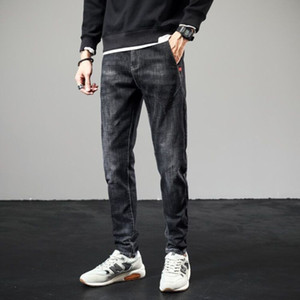 Autumn and winter Plush jeans men's loose trend elastic casual versatile thickened warm straight slim long pants