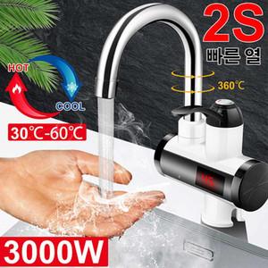 3000W Instantáneo eléctrico Faucet Faucet HickHot Mezclador Temperatura Digital Pantalla Cuarto de baño Cocina Sola Manera Agua Grifo