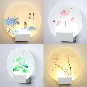 Morden simple creative bedroom round square led wall lights simple warm living room aisle acrylic art bedside indoor wall lamps