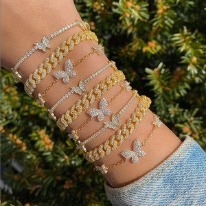 2021 Iced Out CZ Tennis Chain Butterfly Bracelet Luxury Animal Charm Gold Silver Color Bracelet Women Hiphop Bling Fashion Jewelry wholesale