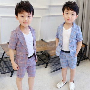 Boys Summer Formal Suit Blazer+Shorts 2PCS Clothing Set Gentleman Kids Wedding Dress Enfant Garcon Mariage Party Wear C0225