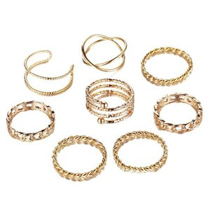 Punk Geometric Metal Rings Set For Women Fashion Vintage Silver Gold Adjustable Finger Midi Knuckle Ring 8Pcs set