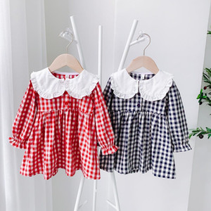 2021 New Cute Autumn Baby Girls Long Sleeve Kids Clothes Plaid Peter Pan Collar Princess 18m-6yrs Hot Sale Plk4