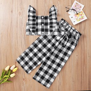 kids clothes girls lattice outfits children Flying sleeve Tops+plaid pants 2pcs sets 2021 summer Boutique baby Clothing Sets Z2408