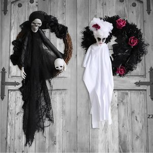 Halloween decoration white black gate Hanging Ghost Horror party wreath haunted house props HWD10154